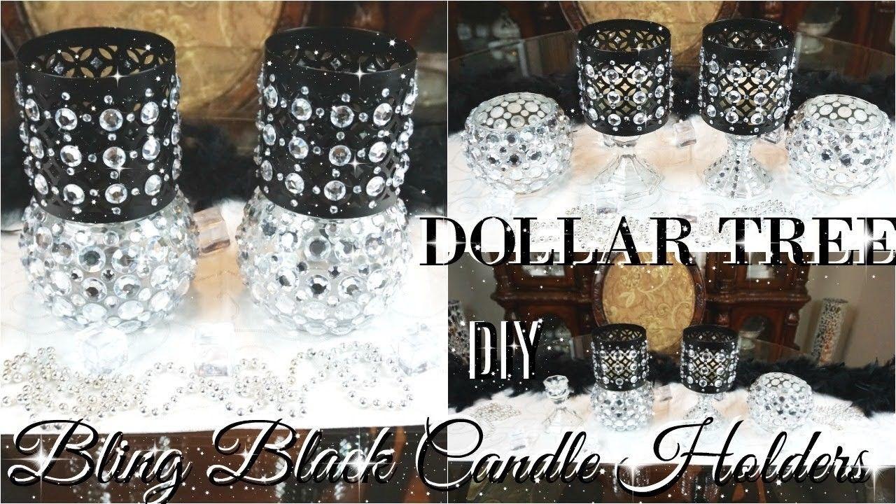 DIY DOLLAR TREE BLING BLACK CANDLE HOLDERS ???? DOLLAR