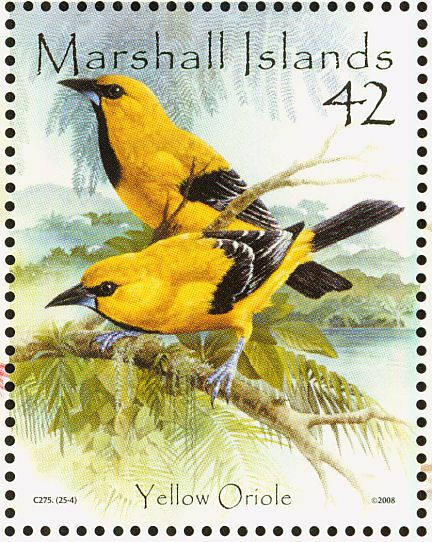 Yellow Oriole stamps - mainly images - gallery format