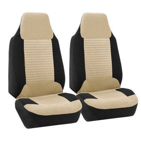 Fh Group Premium Fabric Front High Back Car Truck Suv Bucket Seat Cover Airbag Compatible Pair Beige And Bucket Seat Covers Seat Covers Black Vinyl Flooring