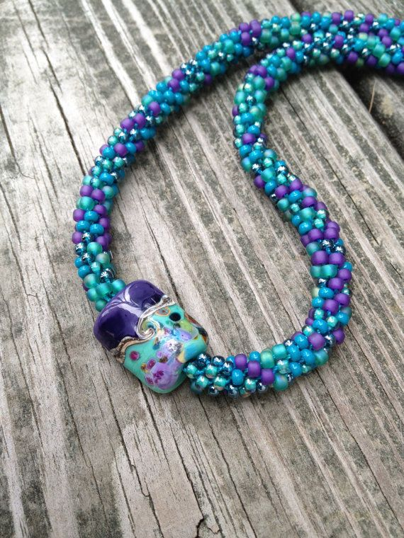 Turquoise Kumihimo Beaded Necklace by ChuraumiSeaGlass on Etsy, $39.00