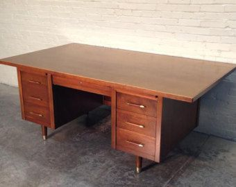 Awesome Mid Century Modern Executive Desk Large Wood Top 42 X 76 By Indiana Great Eames Mad Modern Executive Desk Mid Century Modern Cool Furniture