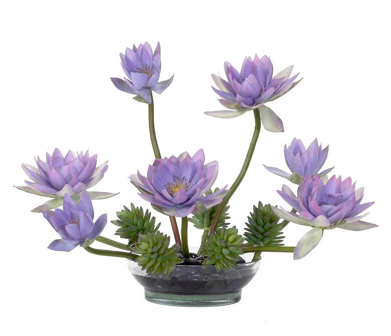 Water lily arrangement in glass vase purple flowers pinterest water lily arrangement in glass vase purple izmirmasajfo