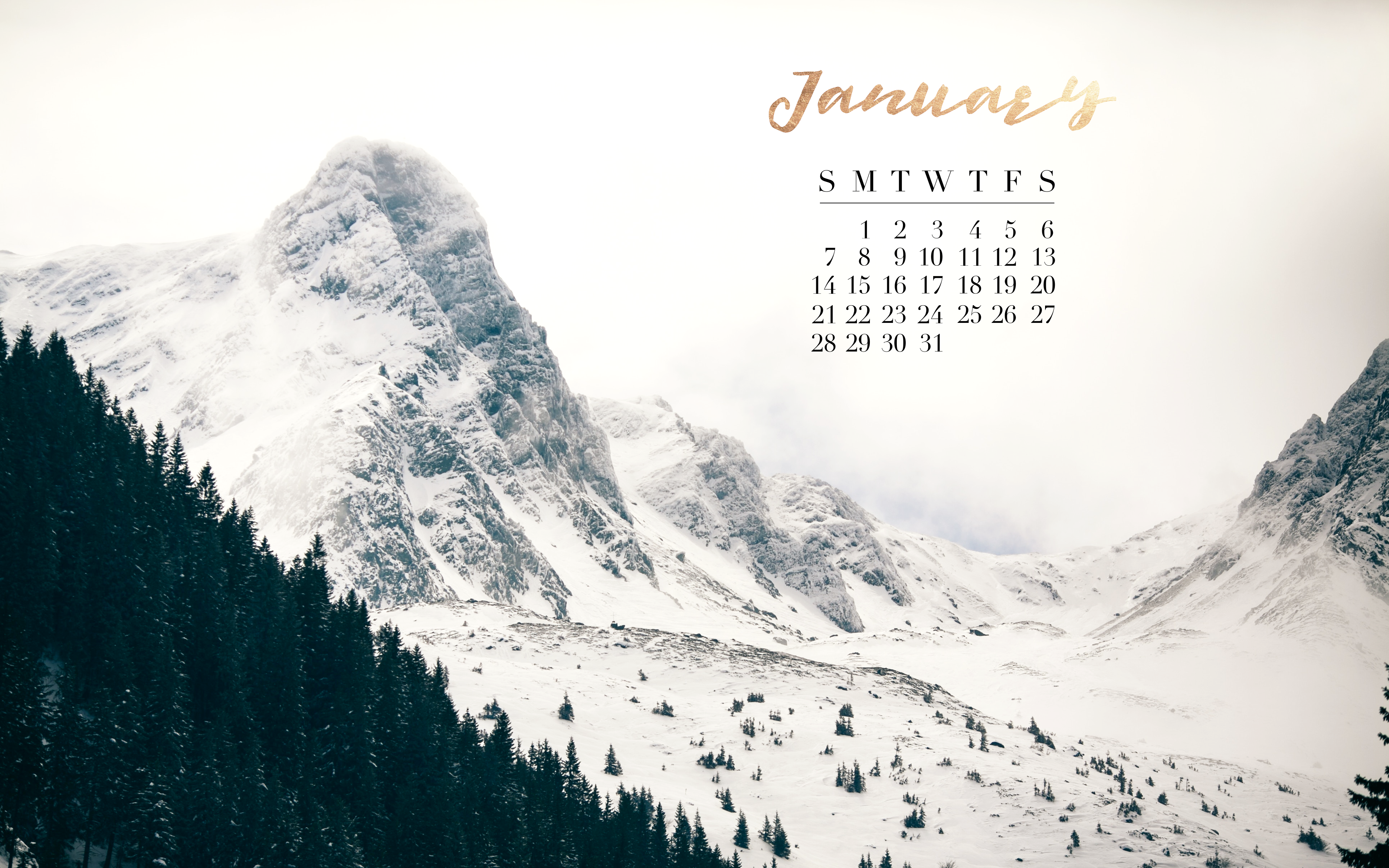 Calendar Wallpaper Mac : January calendar mac laptop background gold