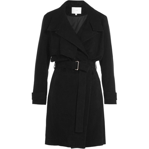 Iro Gitton Suede Trench Coat (10 820 SEK) ❤ liked on Polyvore featuring outerwear, coats, black, black suede coat, black trenchcoat, suede leather coat, black trench coat and oversized coat