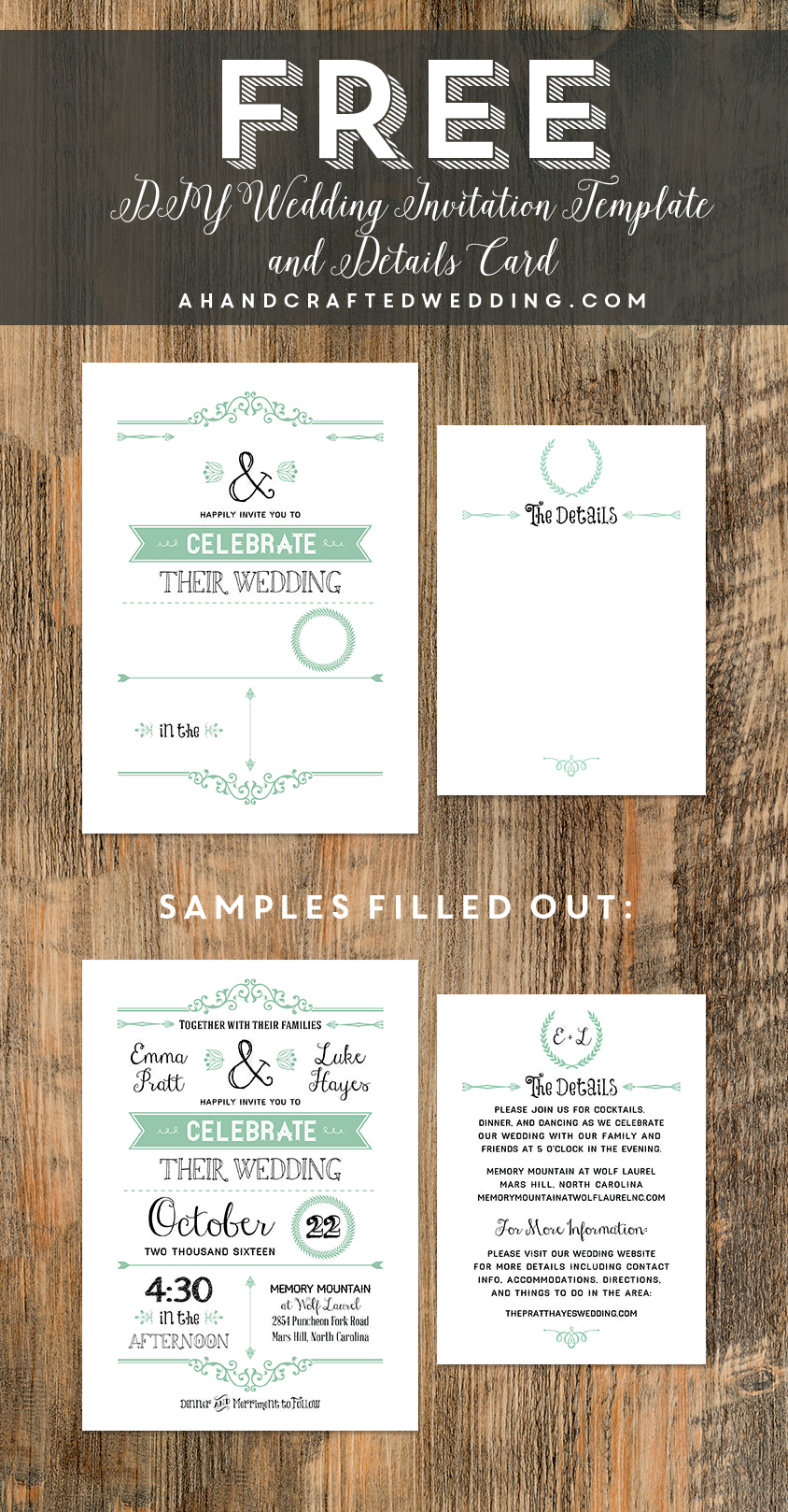 Free Printable Rustic Vintage Wedding Invitation And Details Card Templates Ahandcraftedwedding 01