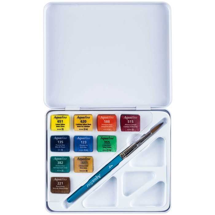 Aquafine Travel Mini Watercolor Set Watercolor Palette Boxes