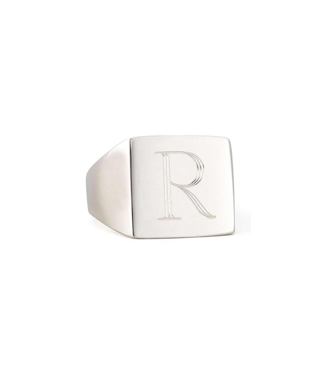 Sarah Chloe Letter-Engraved Square Signet Ring qBhrHbfdE