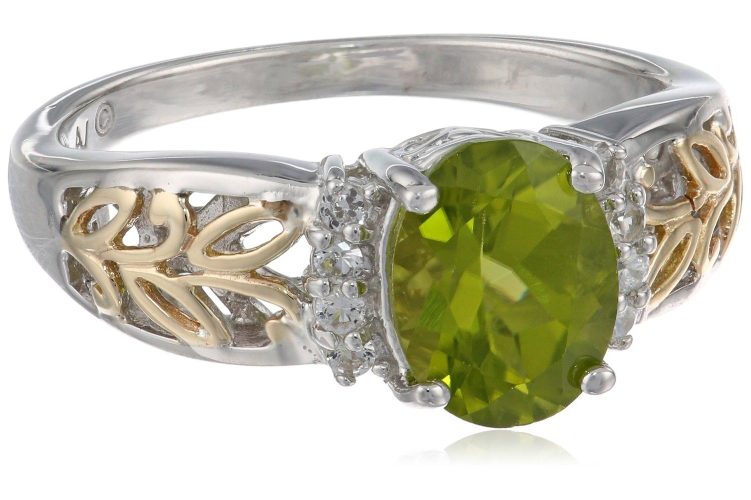 SG Sterling Silver and 14k Yellow Gold Oval Peridot and White Topaz Ring