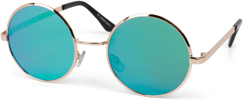 Unisex runde flache Gläser /& Edelstahl Metall Gestell Sonnenbrille verspiegelt