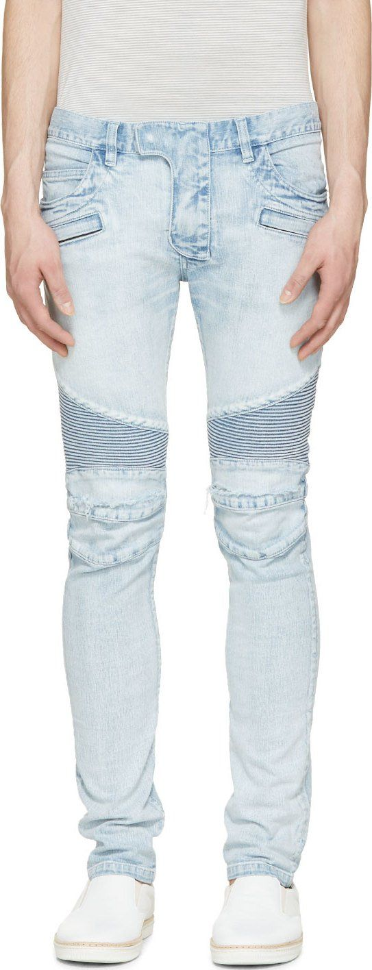 Balmain  Light Blue Destroyed   Ribbed Biker Jeans  892b397848f11