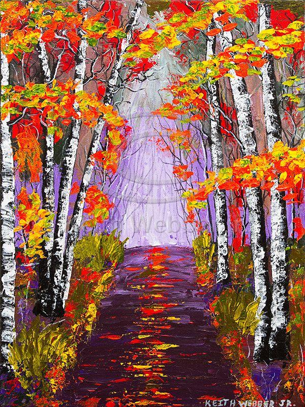 Original Fall Birch Tree Painting Country Road Aspen Trees