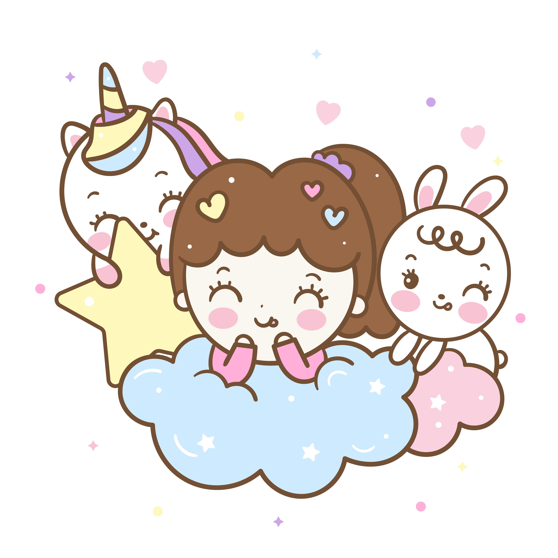 Set Of Kawaii Character Cute Girl Cartoon Unicorn Cartoon Pony Child Rabbit Illustration Sweet Kartun Gambar Lucu Ilustrator