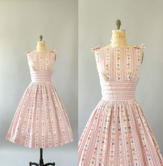 b2bc264e249a Vintage 50s Dress  1950s Cotton Dress  Vicky Vaughn Pink Floral   Striped Cotton  Sundress w  Bows L