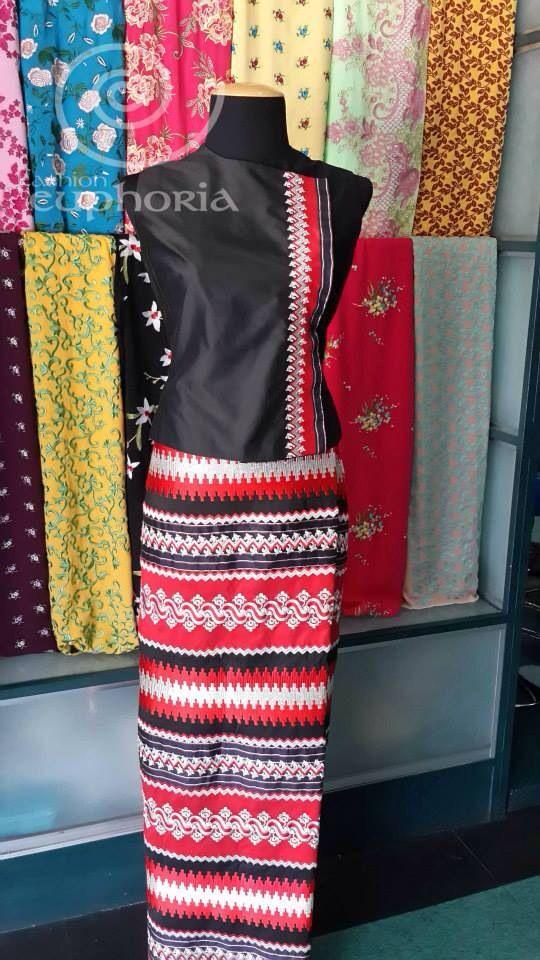 Myanmar female dress black and red classy  Myanmar Traditional