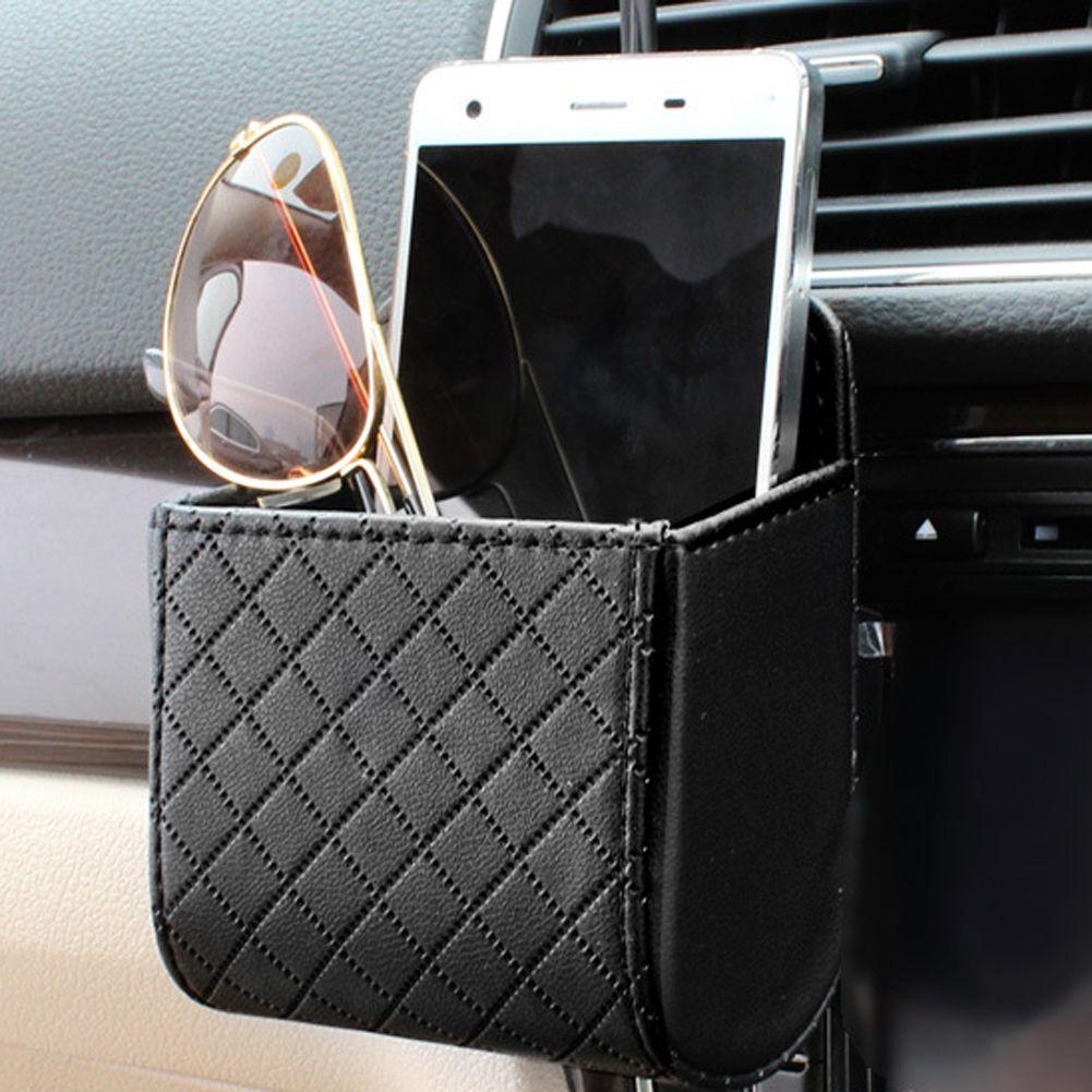 Auto Vent Outlet Trash Box Pu Leather Car Mobile Phone Holder Bag Automobile Hanging Box Car Styling Air Vent Phone Holder Mobile Phone Bag Mobile Phone Holder