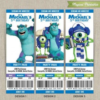 Personalized Disney Monsters University Birthday Ticket Invitation Card Monster Inc Birthday Monster University Birthday Monster Inc Party