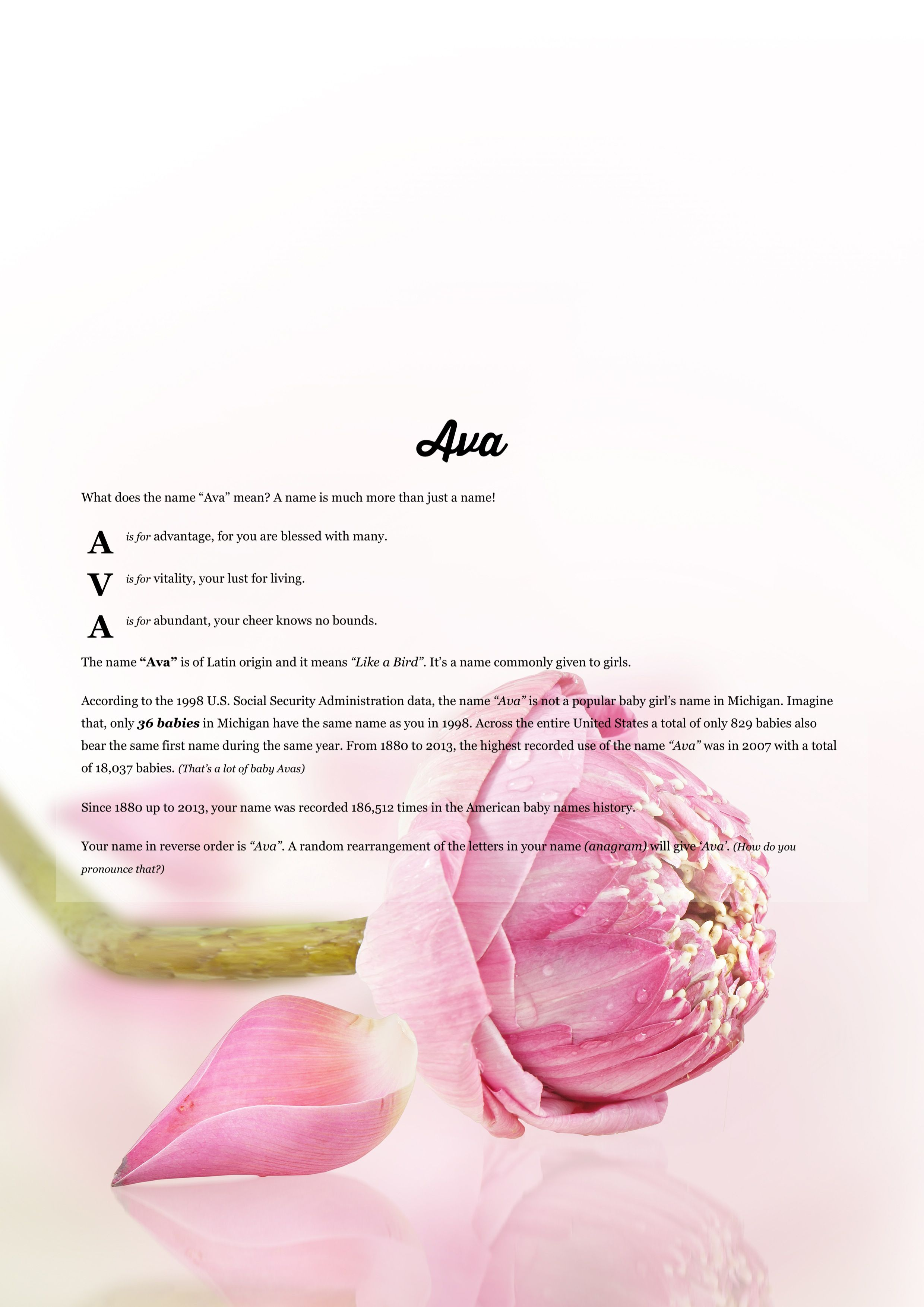 The Meaning Of Name Ava Using Pink Lotus From The Project Pack