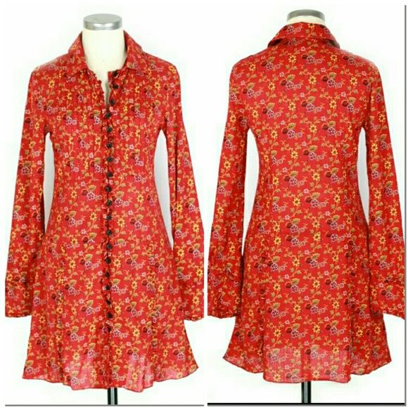 """Free People shirt dress Sz 2 (XS).  Free People shirt dress. Red. Floral print. Long sleeves. Button front. Ruffle & pintuck detail.  Excellent condition no flaws. Cotton.  Approx measurements Bust 35"""" Length 35"""" Waist 32"""" Hips 35"""".  Dress will fit looser than photos portray-it's being displayed on a size 6 dress form. Free People Dresses"""