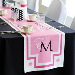 Our New Monogram Decorative Table Runners: Fashioned with an ideal blend of contemporary style and superb elegance, Our New Monogram Decorative Table Runners create a sensational way for brides and grooms to add a personalized touch of color to their wedding day decor. Custom made to order in your choice of one of today's hottest wedding colors and featuring your initials, it's easy to see why these standout accessories are such top rated products!