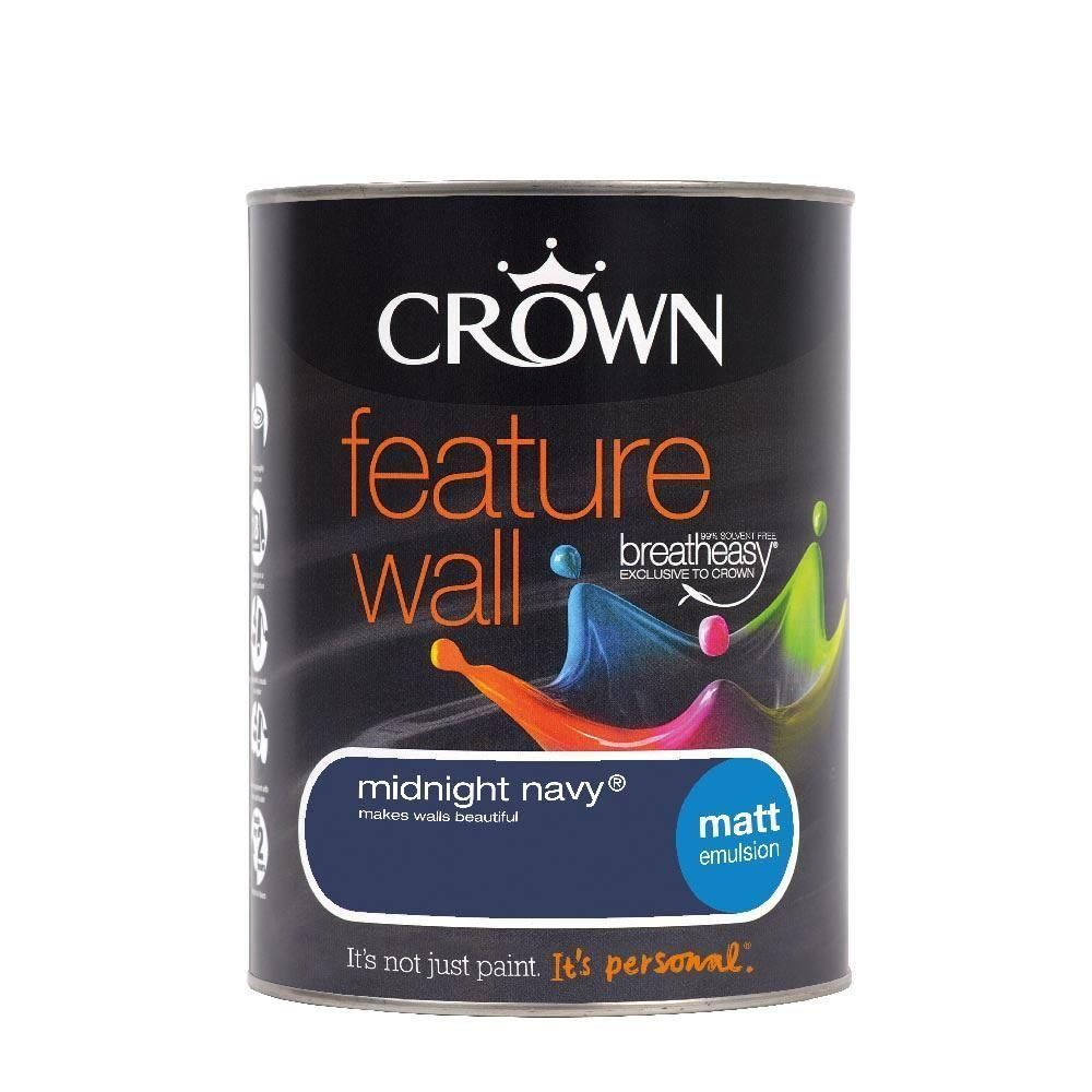 From Midnight To Duck Egg See: Crown Feature Wall Matt Emulsion Paint 1.25L