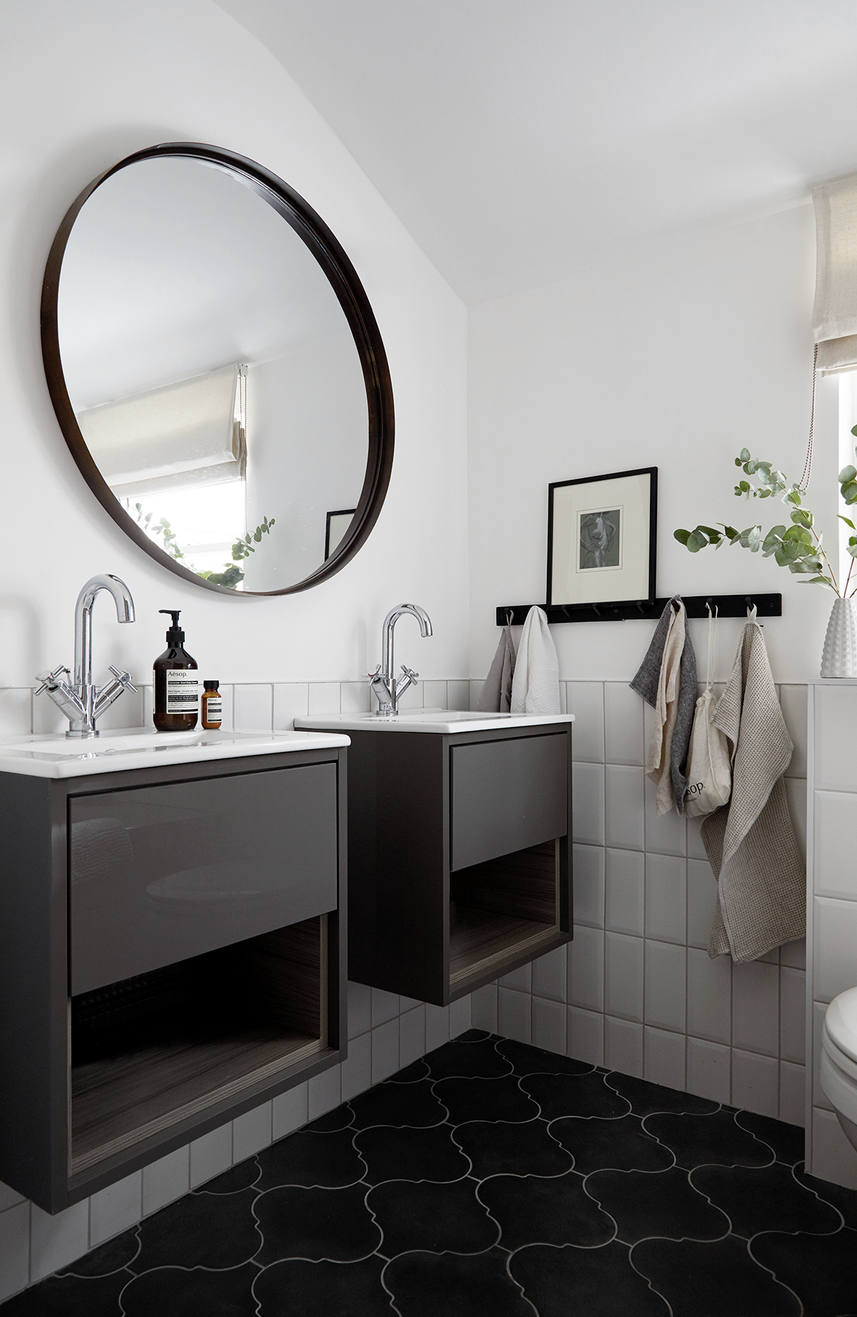 Black And White Monochrome Bathroom With Subway Tiles Round Mirror Home Of Rebecca Wakefield