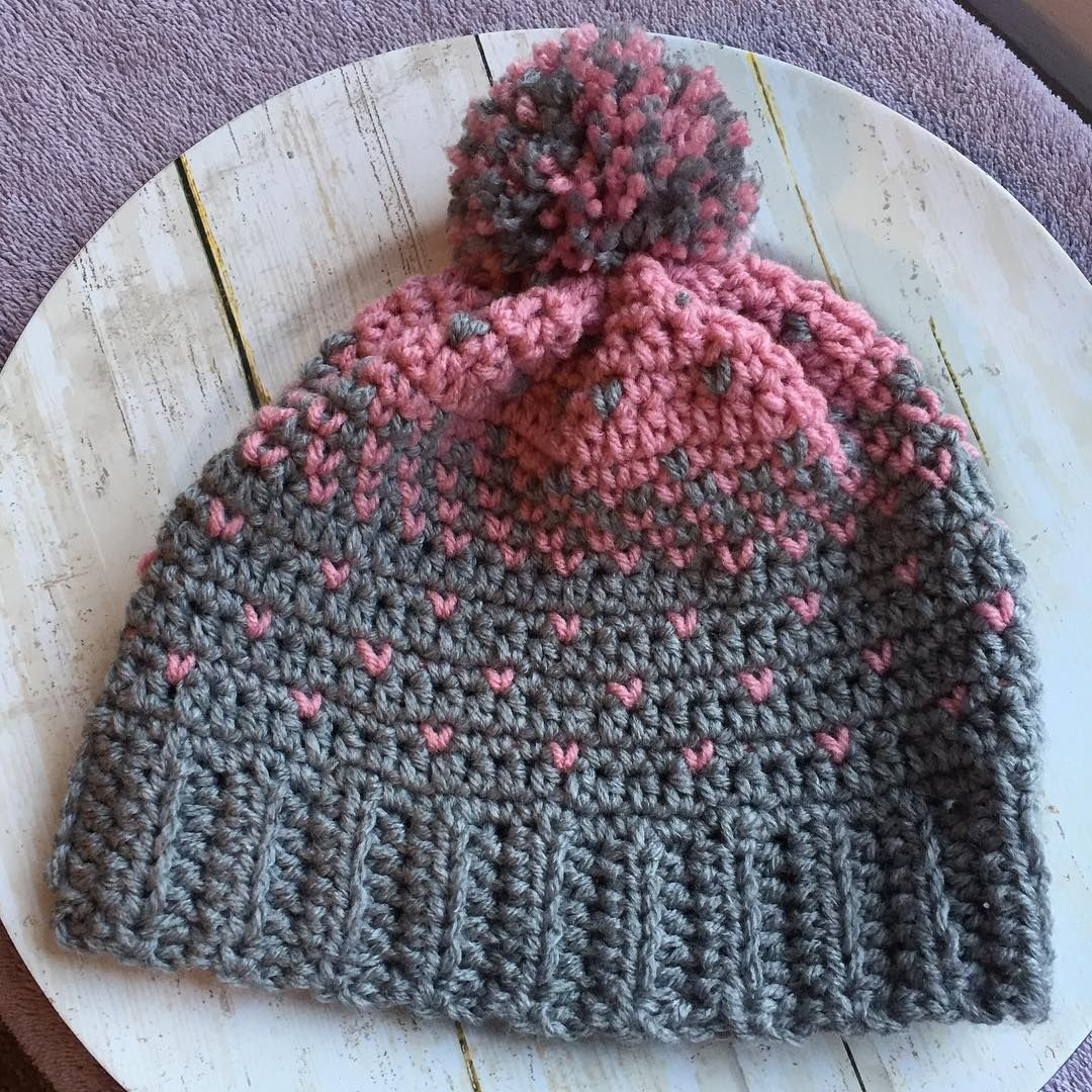 Lovely Heart Hat. Free pattern on wilmade.com. Made by Gaie ...