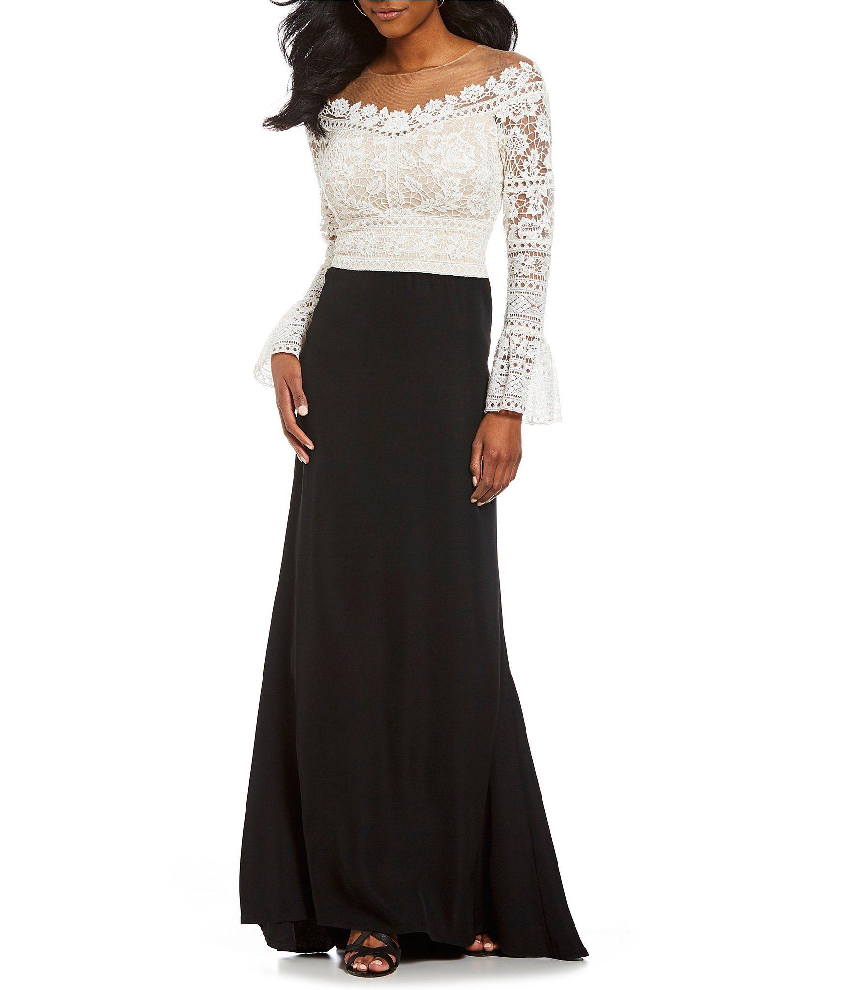 Tadashi Shoji Cotton Lace Bodice Bell Sleeve Crepe Skirt Gown ...