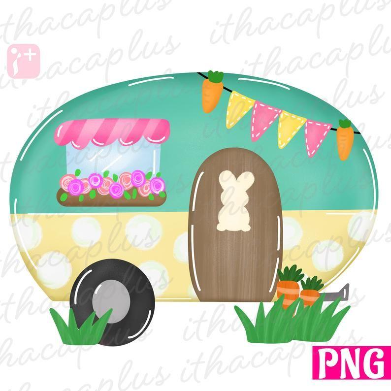 Easter Sublimation Spring Camper Png Easter Camper Png Etsy Camper Clipart Easter Backgrounds Easter Coloring Pages