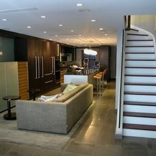layout of long room.   contemporary basement by Chelsea Atelier Architect, PC