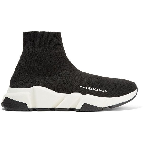 8b112c4f93e0 BalenciagaSpeed Stretch-knit High-top Sneakers (€580) ❤ liked on Polyvore  featuring shoes