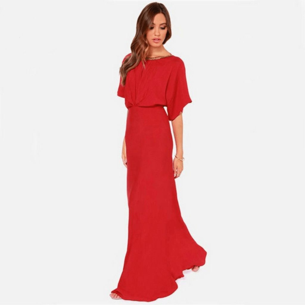Red vcut backless batwing maxi dress products