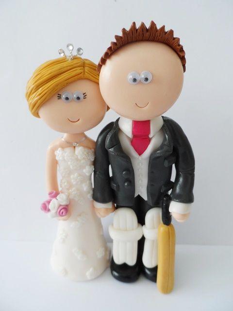 Bride & Groom wedding cake topper, this Groom plays ...