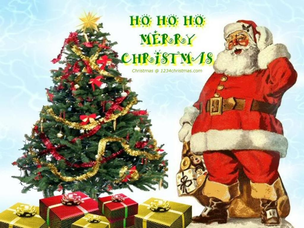 Christmas Tree Santa Claus Hd Wallpaper Santa Claus Christmas Tree Christmas Tree Wallpaper Christmas Greetings