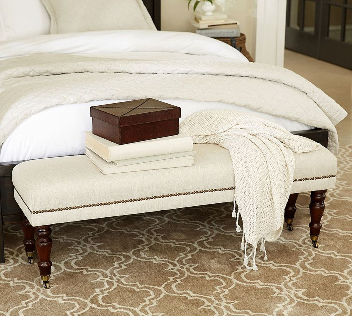 Pottery Barn Raleigh Upholstered Bench with Nailhead trim