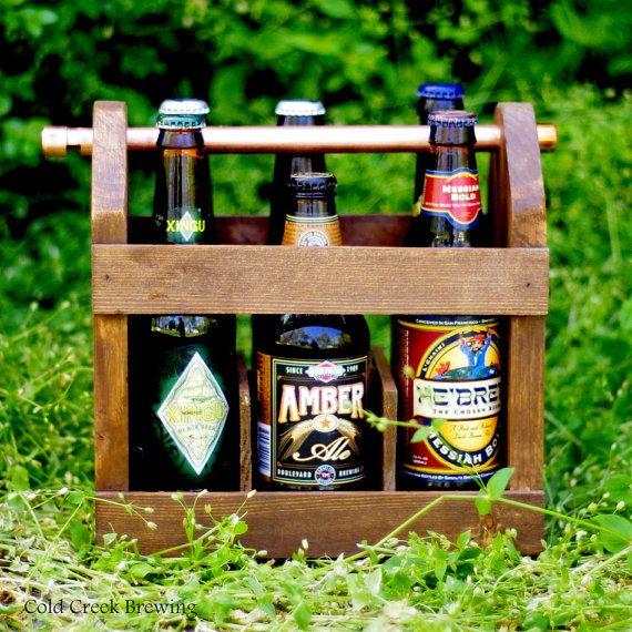 Summer Wooden Drinks Beer Bottle Carrier with Bottle Opener Green