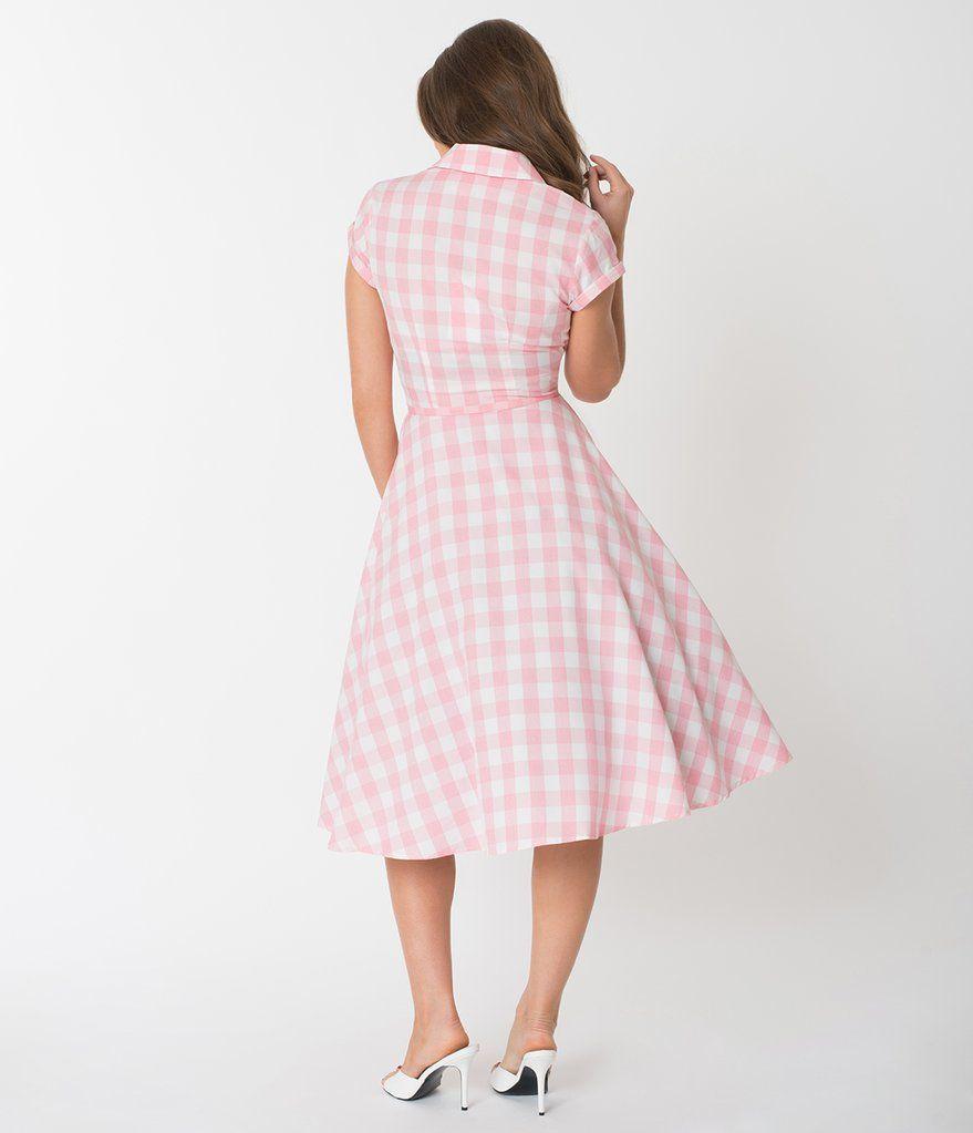 Unique Vintage 1950s Style Light Pink White Gingham Alexis Swing Dress Unique Dresses Floral Blue Dress Swing Dress [ 1023 x 879 Pixel ]