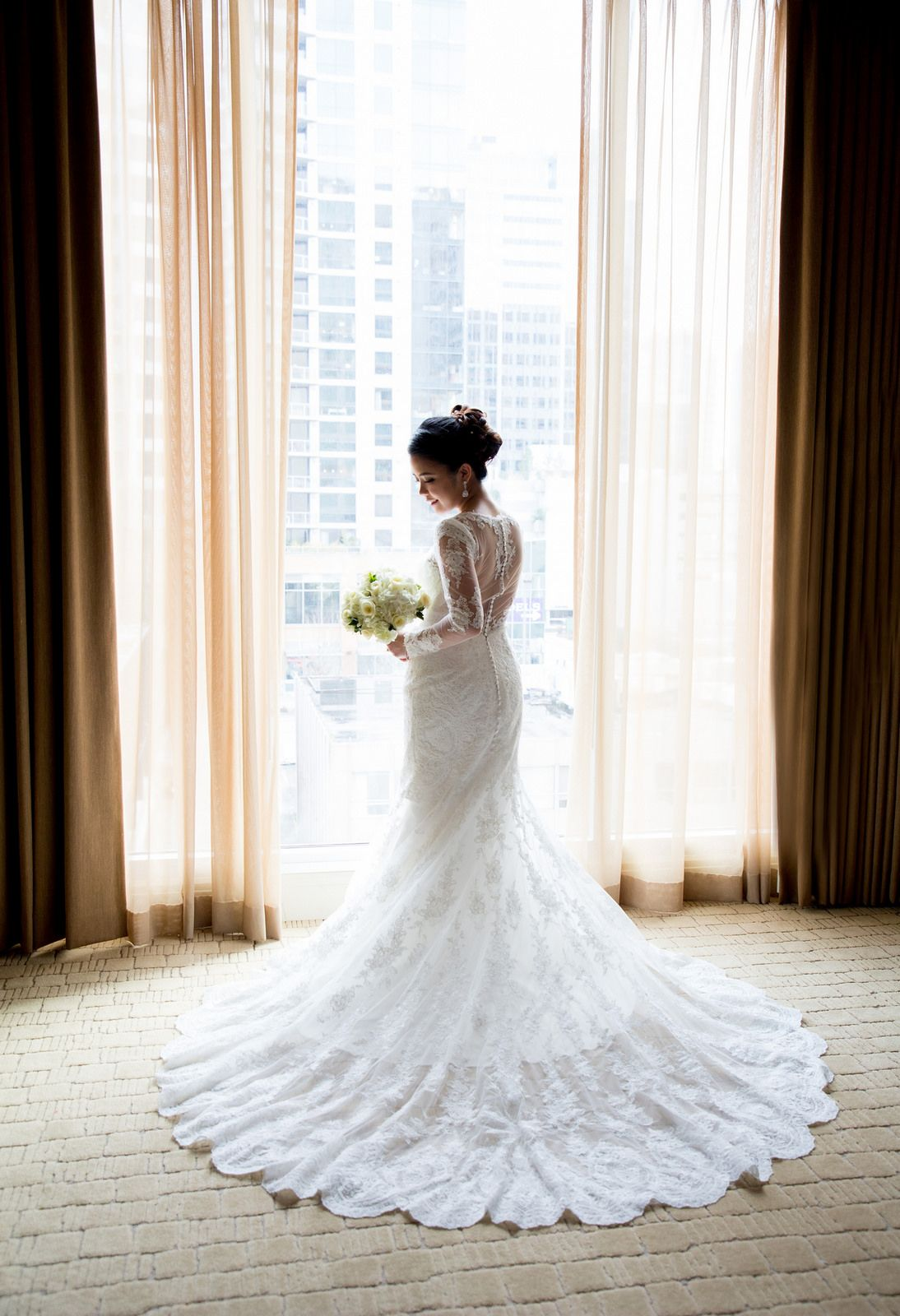 Lovely Lace Wedding Dress With Train And Long Sleeves Essence Of Australia Hyatt Hotel
