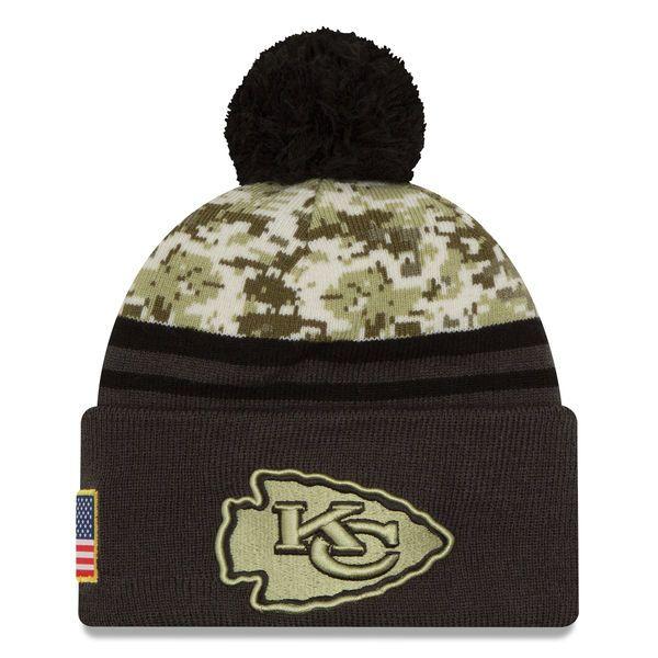 Kansas City Chiefs New Era Salute To Service Sideline Pom Knit Hat - Camo/Graphite - $25.99