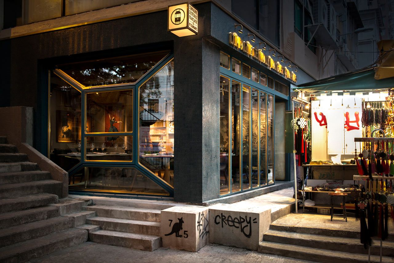 Fine dining restaurant exterior - Bibo Restaurant Exterior Hk Vintage Rustic Sign And Light Box