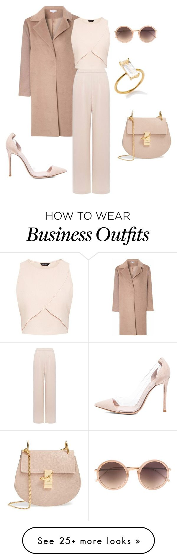 """Work wear in blush"" by bshujewelry on Polyvore featuring Glamorous, Coast, Gianvito Rossi, Chloé, Linda Farrow, women's clothing, women, female, woman and misses"