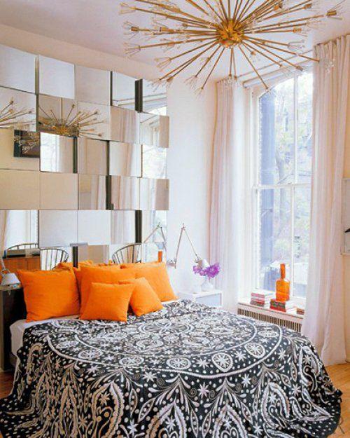 bonito juego de espejos para decorar un dormitorio