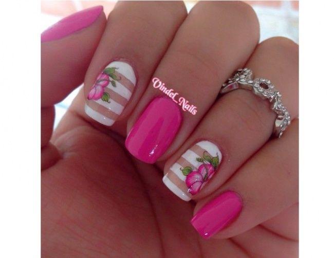 20 Pomyslow Na Rozowy Manicure Slodkie Wzorki Na Paznokcie Na Lato Strona 16 Pink Nail Art Striped Nails Nail Art Stripes