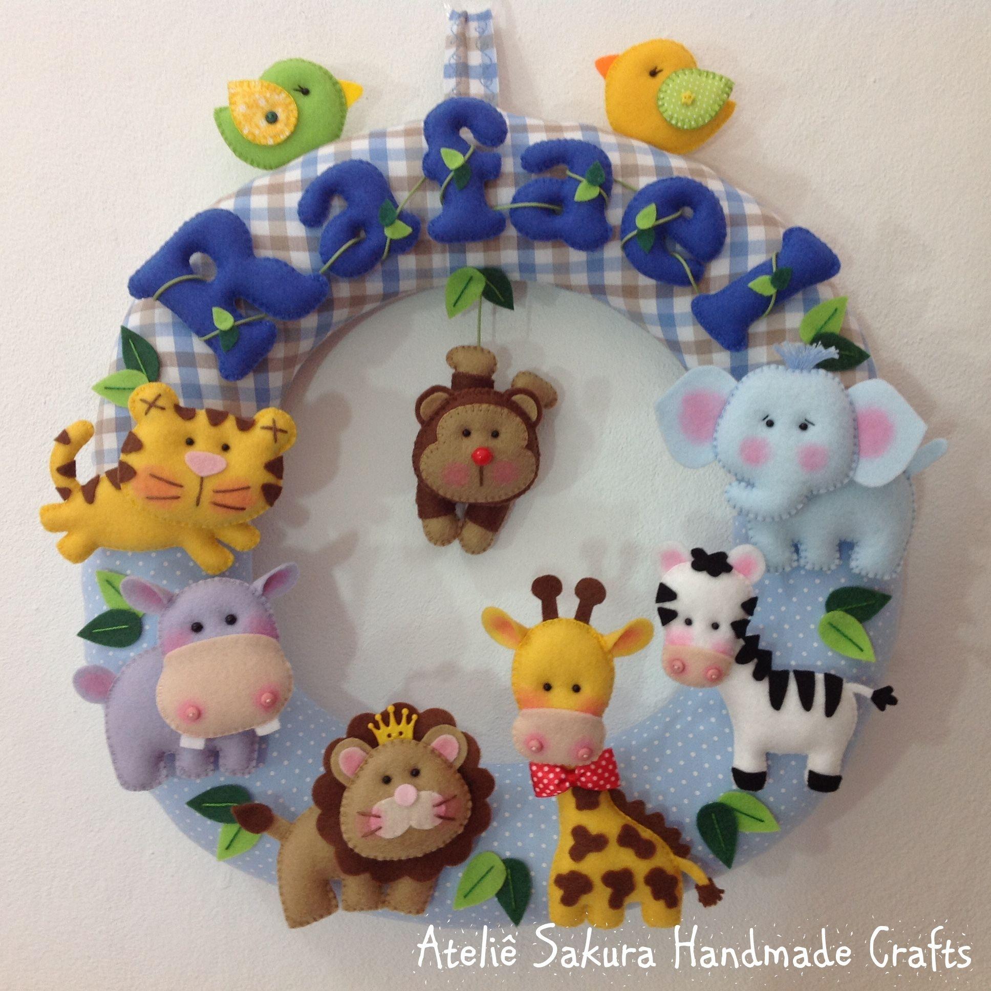 Guirlanda Porta de Maternidade tema Safári para o Rafael