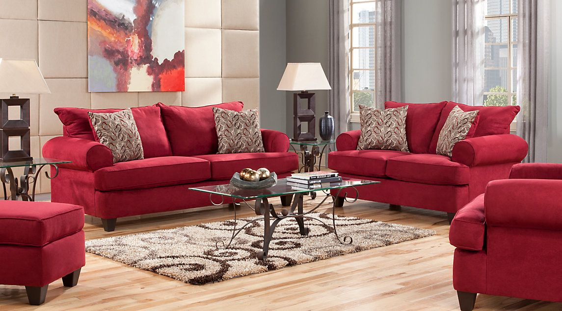Red Living Room Sets Fabric Microfiber 2 3 5 7 Pieces Red