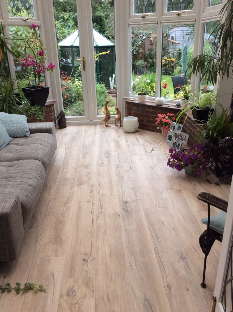 Mumble h wood effect tiles in a customers conservatory mumble h wood effect tiles in a customers conservatory dailygadgetfo Image collections