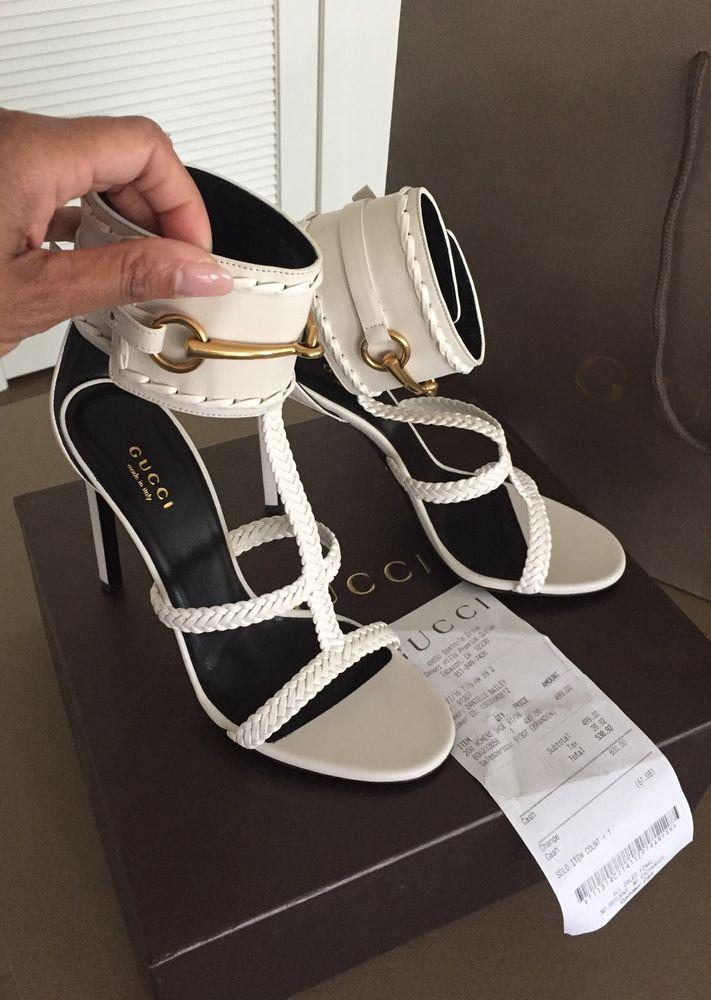 586809a77b8 New Authentic Gucci Malaga Kid Lifford Braided Strap Off White Size 38   Gucci  Strappy