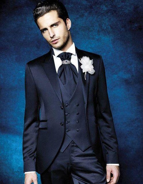 2017 Latest Coat Pant Designs Navy Blue Skinny Suits Men Formal