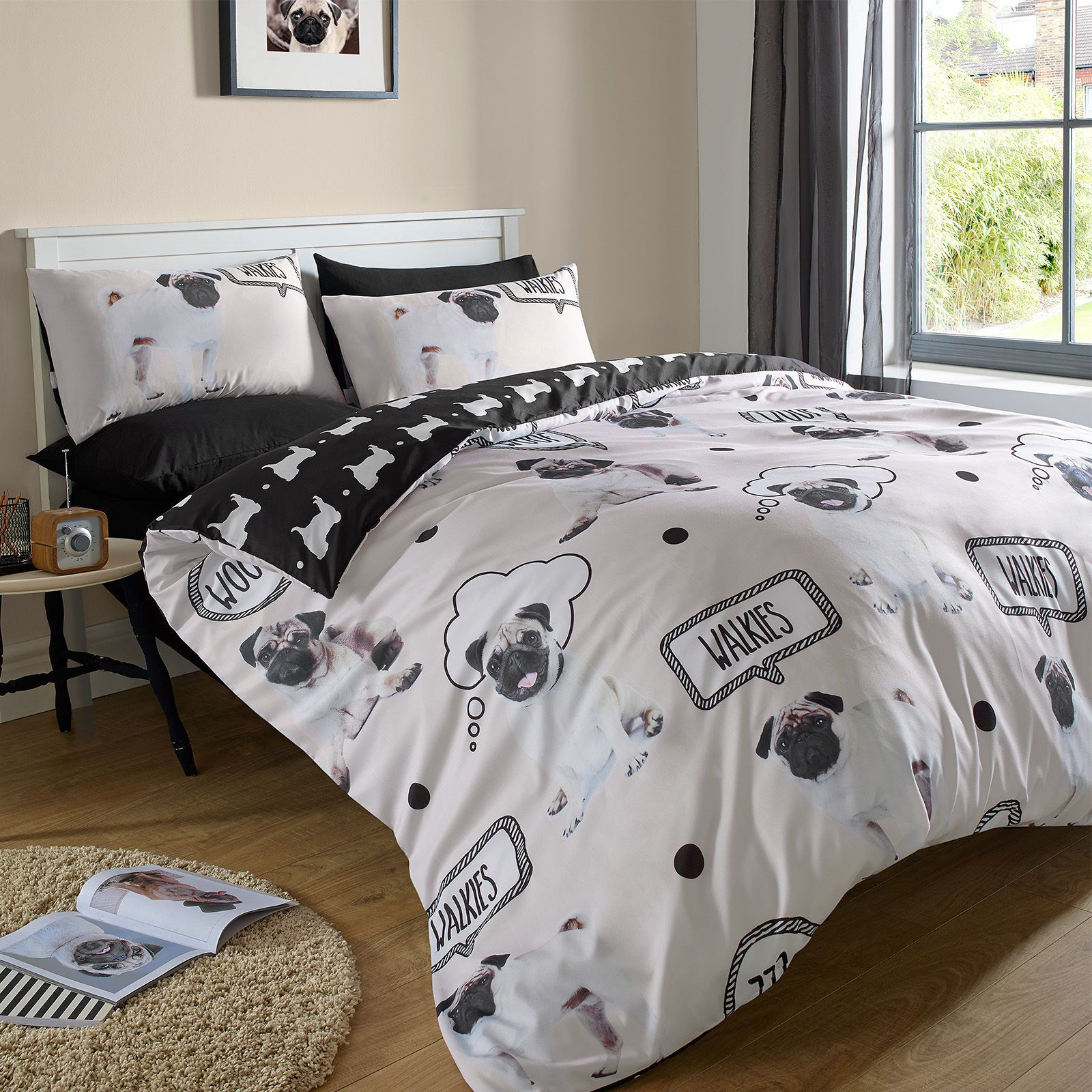Woof Pug Dog Childrens Bedding Duvet Cover Set Twin Full Queen Cream