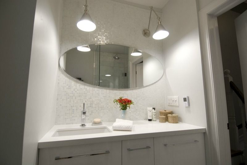 Simple Elegant Second Floor Bathroom mirrored wall accent shower floor – Murano glass mosaic pearl For Your Plan - Cool bathroom mirror light fixtures Lovely