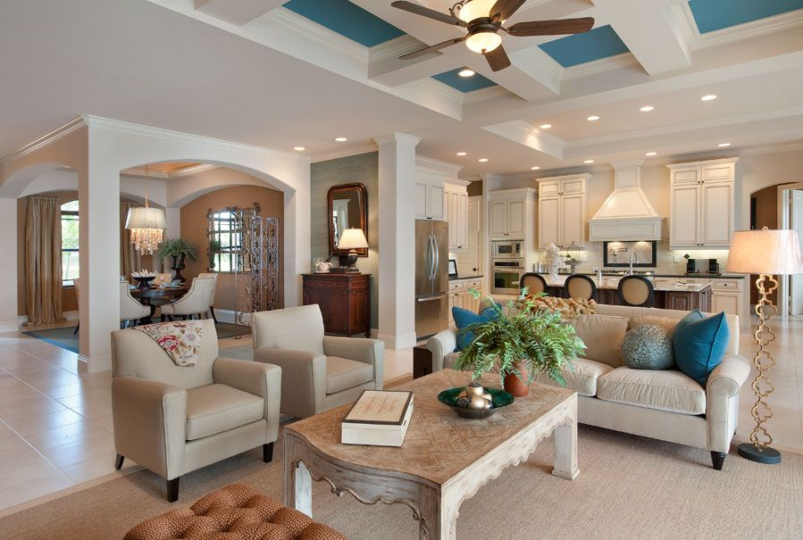 Model home interiors images florida madison for Model living room design